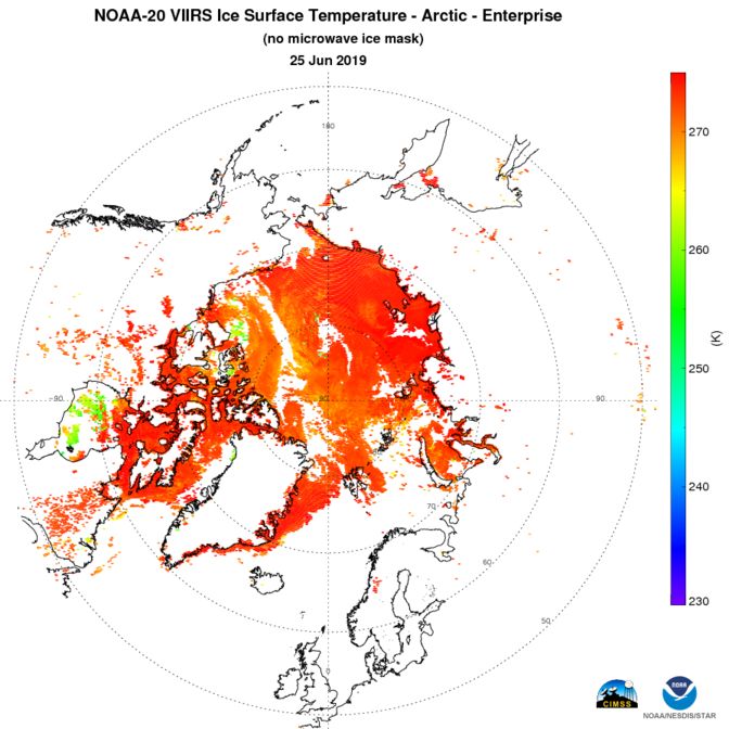N20 VIIRS Cryosphere - Ice - Cryosphere Ice Products - without mask - Ice Surface Temperature - Arctic - 06/25/2019