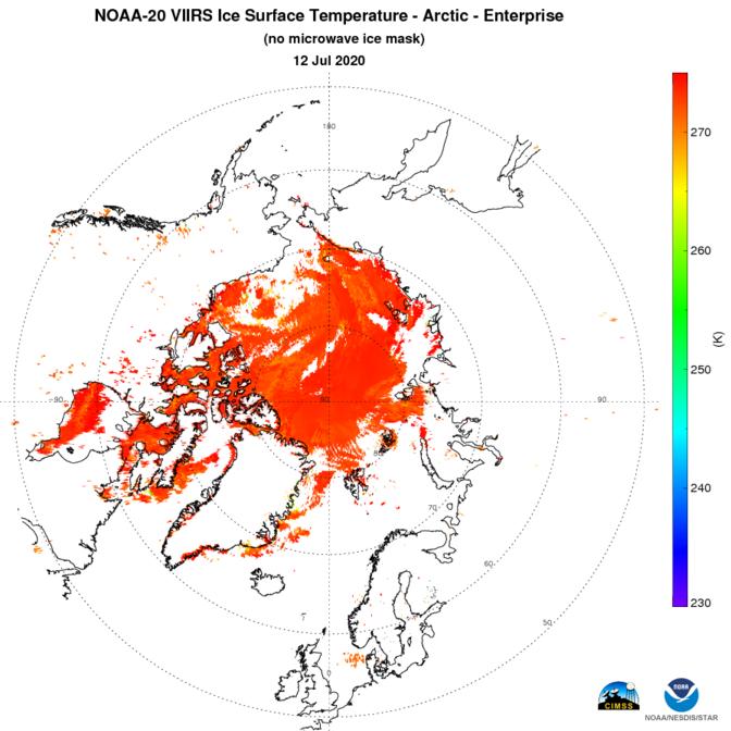 N20 VIIRS Cryosphere - Ice - Cryosphere Ice Products - without mask - Ice Surface Temperature - Arctic - 07/12/2020