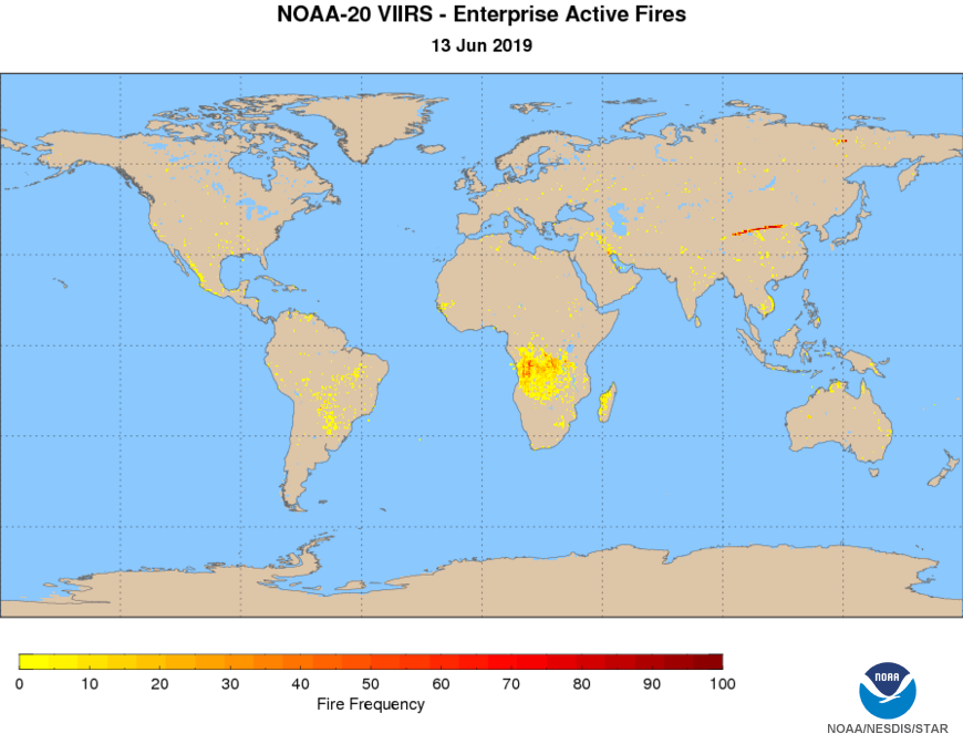 NOAA-20 VIIRS Active Fires - Active Fires Frequency Map - NDE - day-night composite - 06/13/2019