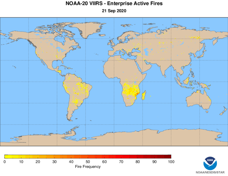 NOAA-20 VIIRS Active Fires - Active Fires Frequency Map - NDE - day-night composite - 09/21/2020
