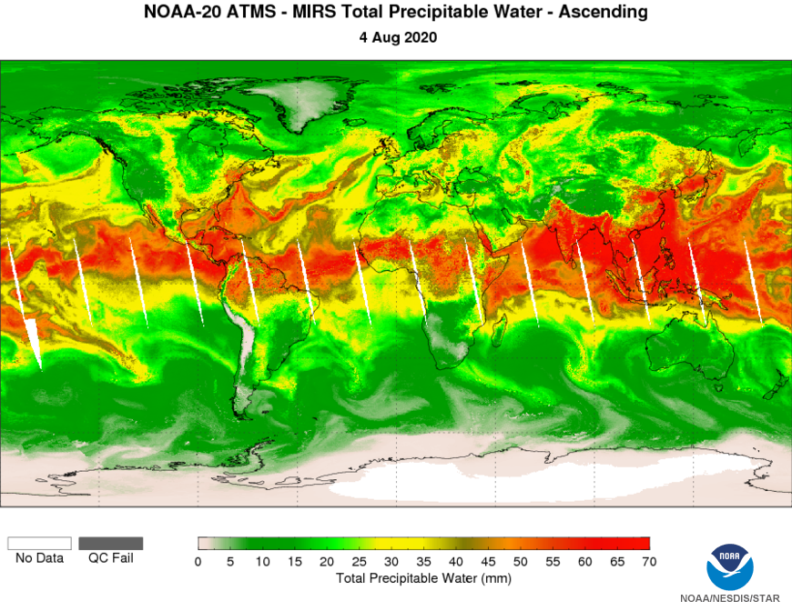 NOAA-20 ATMS MiRS - Total Precipitable Water - Asc - 08/04/2020