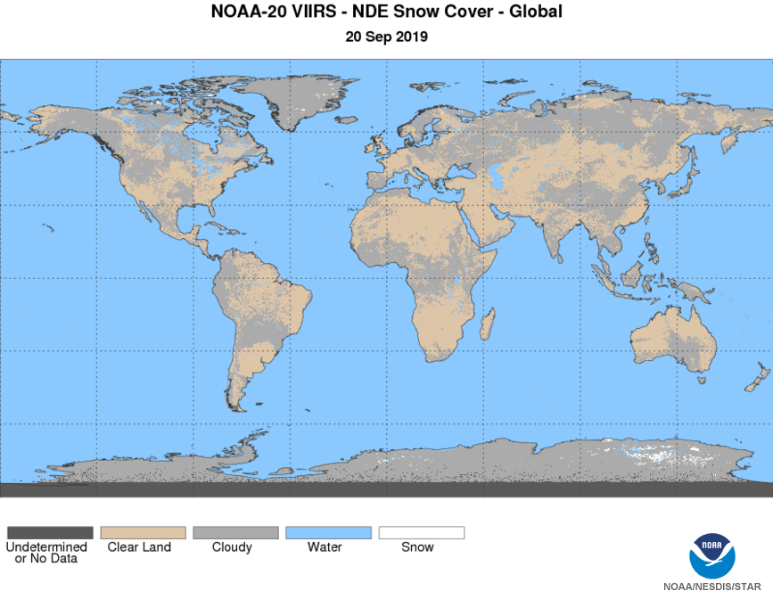 N20 VIIRS Cryosphere - Snow - Snow Cover - Global Snow Cover - 09/20/2019