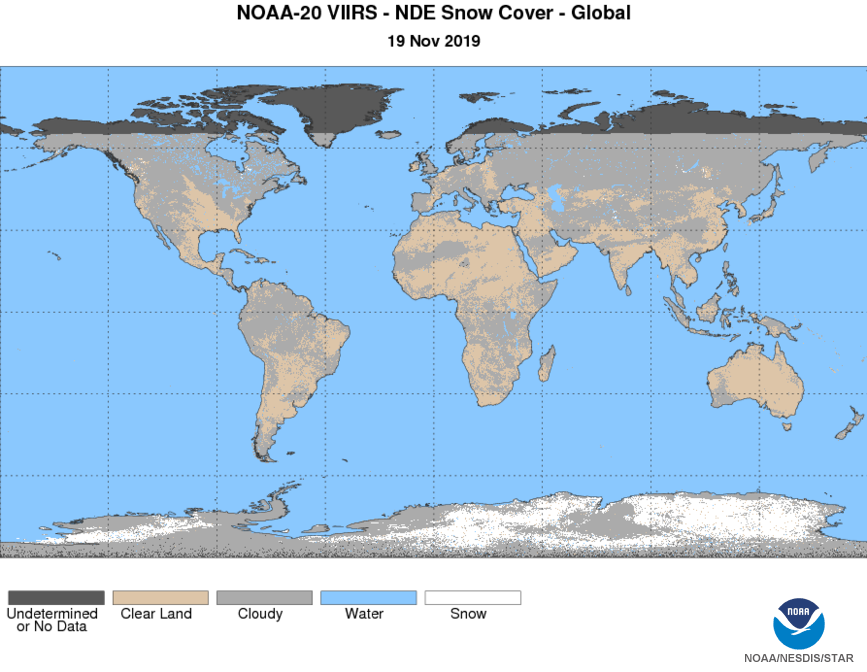 N20 VIIRS Cryosphere - Snow - Snow Cover - Global Snow Cover - 11/19/2019