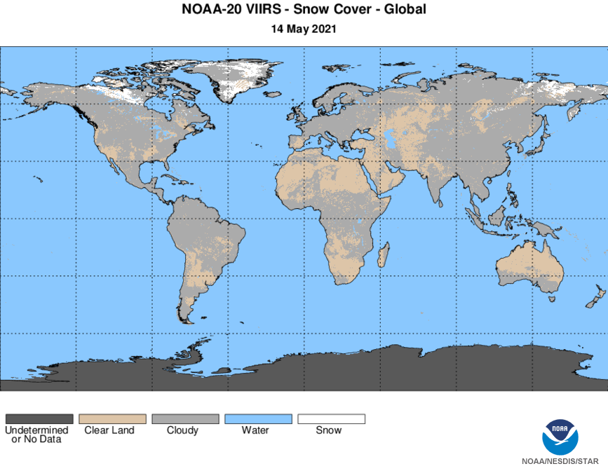 N20 VIIRS Cryosphere - Snow - Snow Cover - Global Snow Cover - 05/14/2021