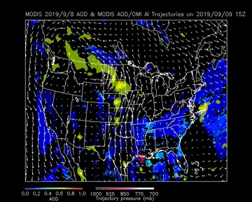Forecast Trajectories for Aerosol Optical Depth       and 48 hour Air Parcel