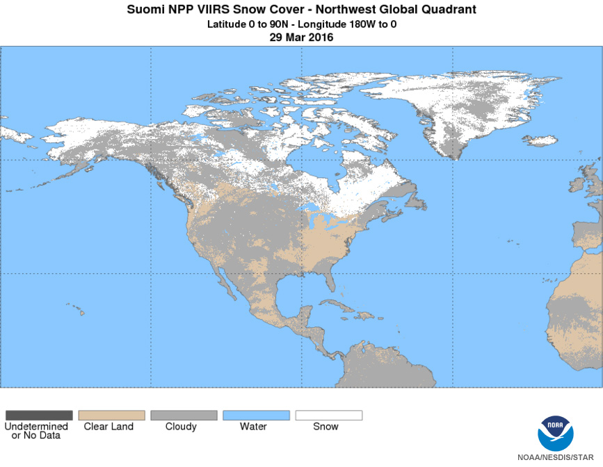 Suomi NPP VIIRS Snow Cover, 3/29/2016   Click To Enlarge