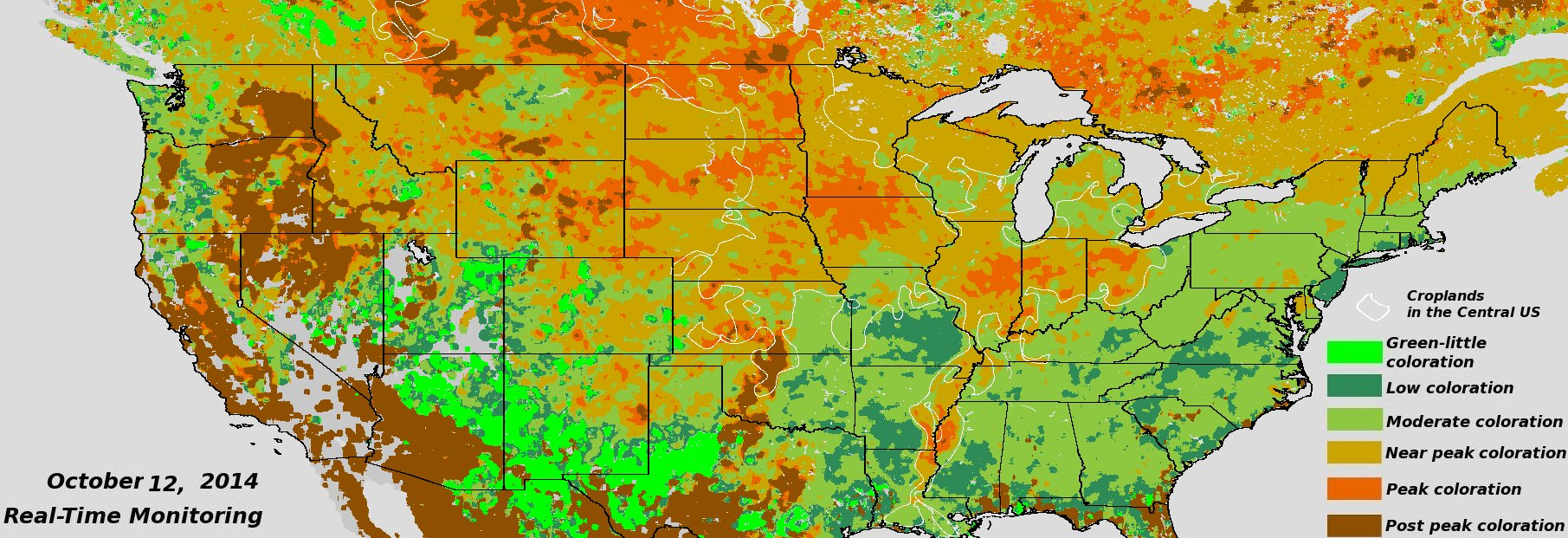 Near Real Time Viirs Ndvi Vegetation Index Fall Foliage Click To Enlarge